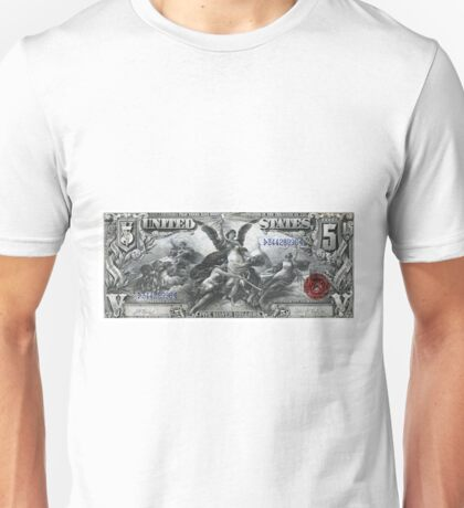 Five U.S. Dollar Bill - 1896 Educational Series  Unisex T-Shirt