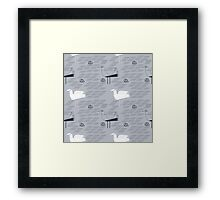 Seagulls and waves summer print  Framed Print