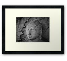 Seated Buddha statue in dhyana mudra pose at Gal Viharaya Framed Print