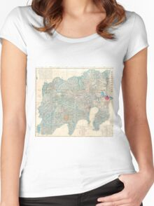 Vintage Map of Tokyo and Mt. Fuji Japan (1843) Women's Fitted Scoop T-Shirt