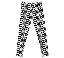 Black And White Tiny Hearts in Checkerboard Repeating Pattern Leggings