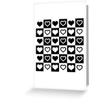 Black And White Tiny Hearts in Checkerboard Repeating Pattern Greeting Card