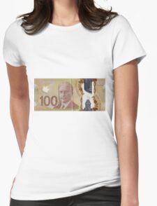 One Hundred Canadian Dollar Bill Womens Fitted T-Shirt