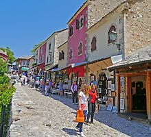 Shopping in the Old Town, Mostar, Bosnia Herzegovina by Margaret  Hyde