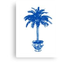 Potted Palm Tree, cobalt blue and white Canvas Print