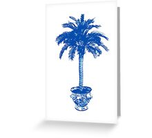 Potted Palm Tree, cobalt blue and white Greeting Card