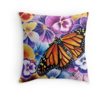 Pansies and Butterfly Throw Pillow