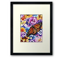 Pansies and Butterfly Framed Print