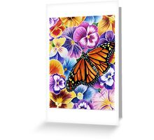 Pansies and Butterfly Greeting Card