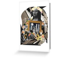 Mona And Twin Towers Collage Art Wear Greeting Card