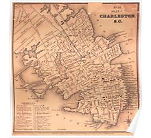Vintage Map of Charleston South Carolina (1849) Poster