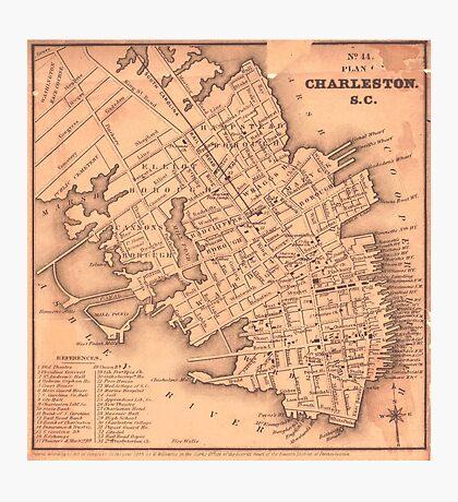 Vintage Map of Charleston South Carolina (1849) Photographic Print