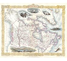 Vintage Map of Canada (1849) Photographic Print