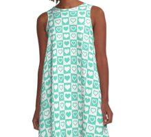 Tiny Tiffany Aqua Blue Hearts in Checkerboard Repeating Pattern A-Line Dress