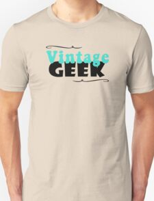 Vintage Geek Retro Typography Aqua Turquoise Blue & Black Unisex T-Shirt
