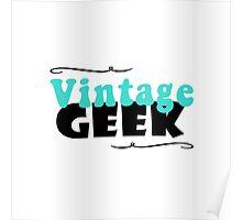 Vintage Geek Retro Typography Aqua Turquoise Blue & Black Poster