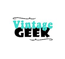 Vintage Geek Retro Typography Aqua Turquoise Blue & Black Photographic Print