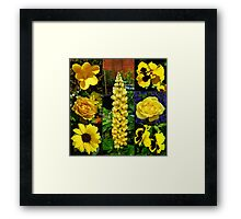 Sunkissed Golden Flowers Collage Framed Print