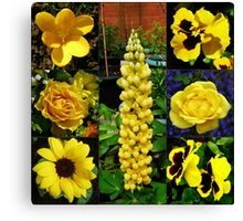Sunkissed Golden Flowers Collage Canvas Print