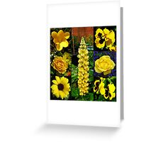 Sunkissed Golden Flowers Collage Greeting Card