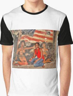 African Girl in front of a Graffiti of Black gils and US Flag Graphic T-Shirt