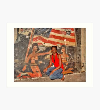 African Girl in front of a Graffiti of Black gils and US Flag Art Print