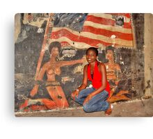African Girl in front of a Graffiti of Black gils and US Flag Canvas Print