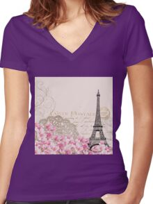 Blush,pink,rustic,floral,Eiffel tower,Paris,collage, Women's Fitted V-Neck T-Shirt