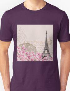 Blush,pink,rustic,floral,Eiffel tower,Paris,collage, Unisex T-Shirt