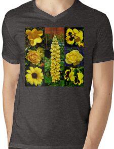 Sunkissed Golden Flowers Collage Mens V-Neck T-Shirt
