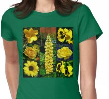 Sunkissed Golden Flowers Collage Womens Fitted T-Shirt