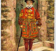 A digital painting of A Yeoman of the Guard (Beefeater), London, England by Dennis Melling
