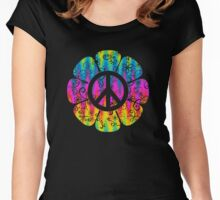 Colorful Peace Symbol Flower Women's Fitted Scoop T-Shirt