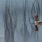 Avocet and Reeds by Floyd Hopper