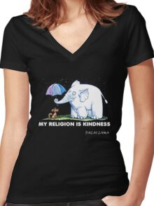 My Religion is Kindness Women's Fitted V-Neck T-Shirt