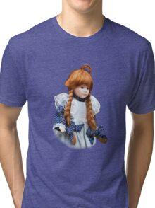 Red haired porcelain doll Tri-blend T-Shirt