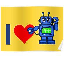 I heart robot, robot listen to heart Poster