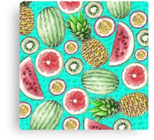 Tropical Fruit on a Turquoise Background Canvas Print