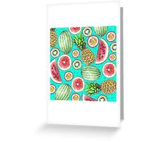 Tropical Fruit on a Turquoise Background Greeting Card
