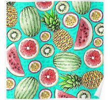Tropical Fruit on a Turquoise Background Poster