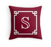 White Monogram S In A White Greek Key Frame Throw Pillow
