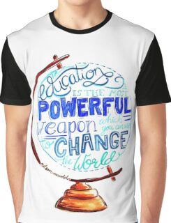 Nelson Mandela - Education Change The World, Typography Vintage Globe Design Graphic T-Shirt