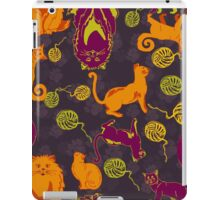 Pattern with cats and yarns iPad Case/Skin
