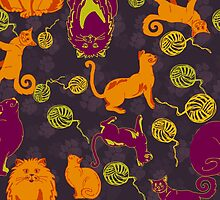 Pattern with cats and yarns by lisenok