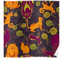 Pattern with cats and yarns Poster