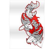 Koi Fish Design in red Poster
