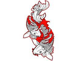 Koi Fish Design in red Photographic Print