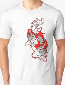 Koi Fish Design in red T-Shirt