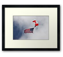 American and Canadian Flags Framed Print