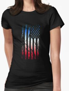 Abstract American Flag Womens Fitted T-Shirt